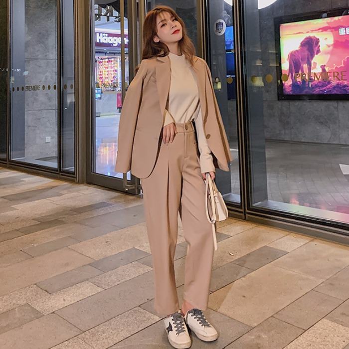 2019 Women Two Piece Outfits Notched Ladies Casual Blazer Jacket+Button Harem Pant Autumn Vintage Blazer Suit Work Wear