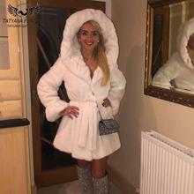 Пальто из натурального меха норки длиной 80 см Женское зимнее