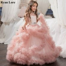 Dresses Ball-Gown Flower-Girl Weddings Elegant Princess Vestidos-De-Fiesta Party Kids