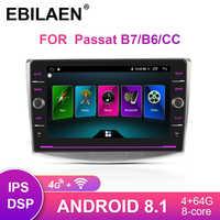Lecteur multimédia Autoradio EBILAEN pour VW Volkswagen Passat B7 B6 CC Navigation 2Din Android 8.1 Autoradio magnétophone GPS