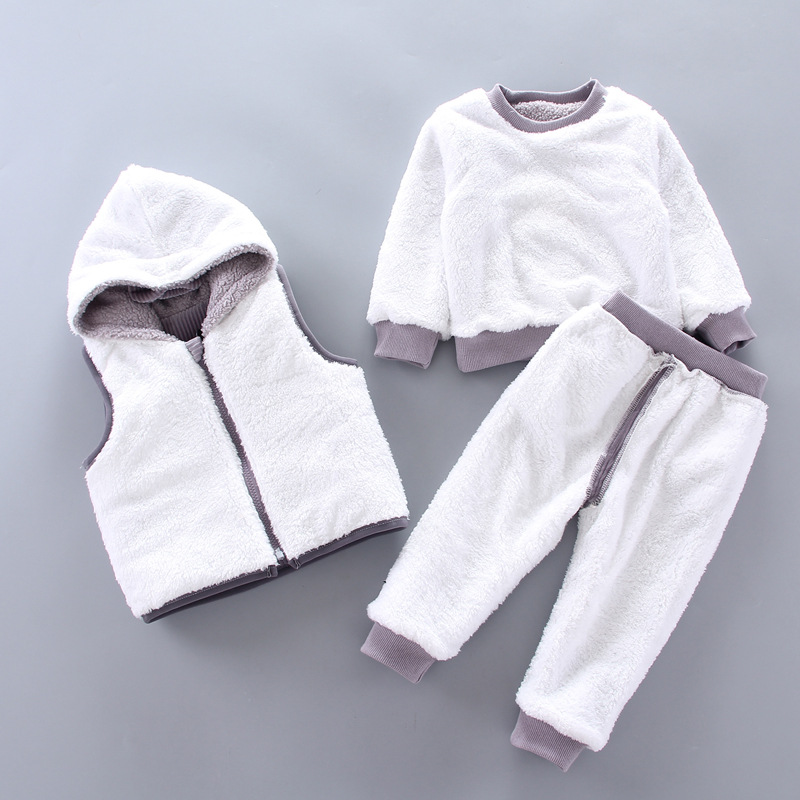 Children's lamb wool warm clothes winter baby boy clothes baby girl cartoon cat plus velvet thick hooded sweater 3-piece set 4