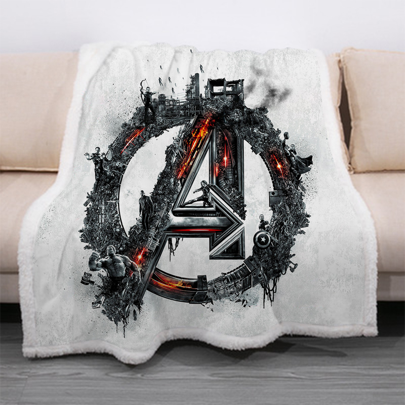 Superhero Avengers 3D Print Sherpa Blanket Sofa Couch Quilt Cover Travel Bedding Velvet Throw Thick Double-layer Fleece Blankets-0