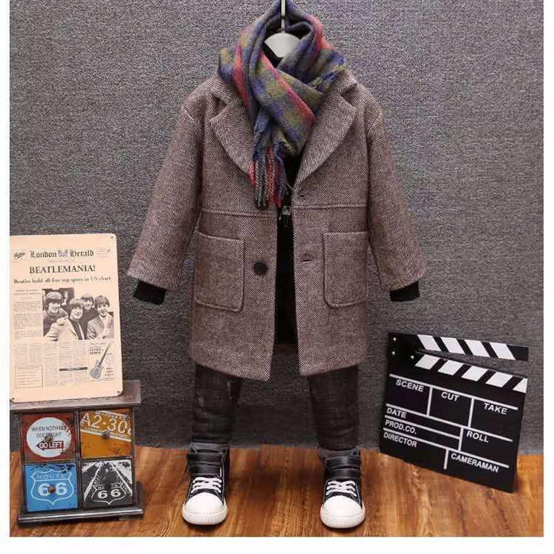 Boys Woolen Coat 2019 Winter New Fashion Solid Turn Collar Warm Outwear 2-13T Children Boy Overcoat High Quality