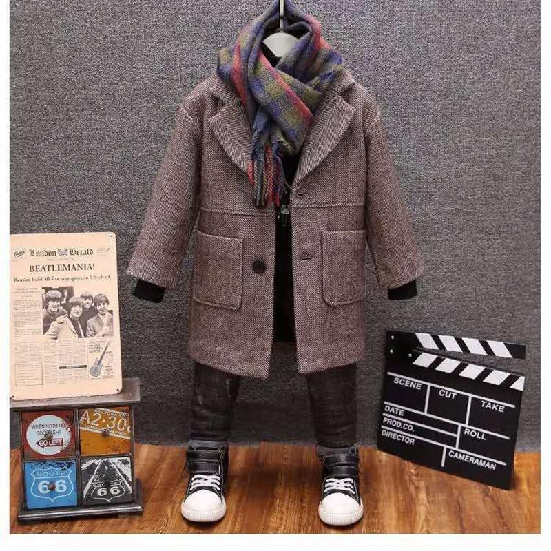 Boys Woolen Coat 2019 Winter New Fashion Solid Turn Collar Warm Outwear 2-13T Children Boy Overcoat High Quality