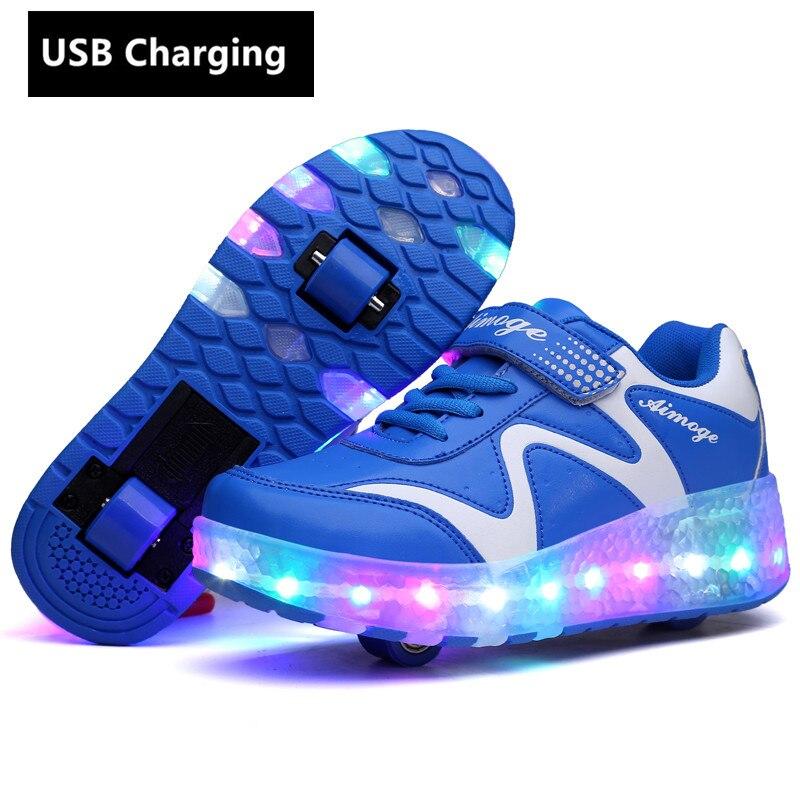 Wheels Orange USB Charging Fashion Girls Boys LED Light Roller Skate Shoes For Children Kids Sneakers With Wheels Two Wheels