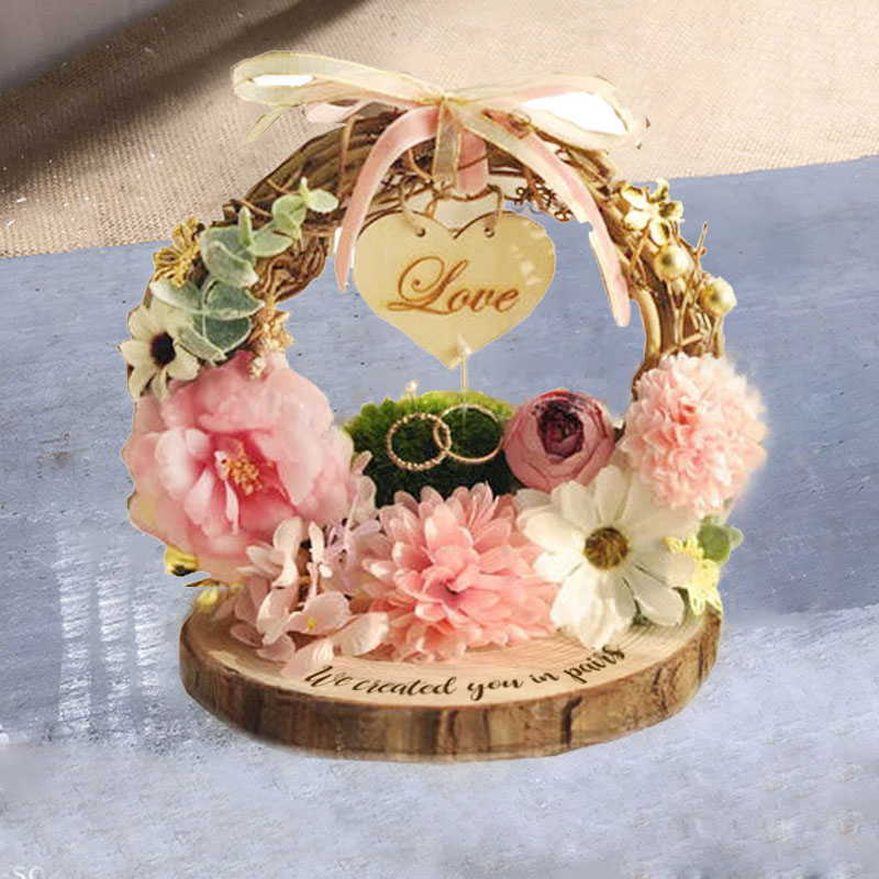 1Pcs Lot Custom Any Language Rustic Pink Wreath Enagagement Wedding Marriage Bride Groom Photo Props Party Decorations For Ring