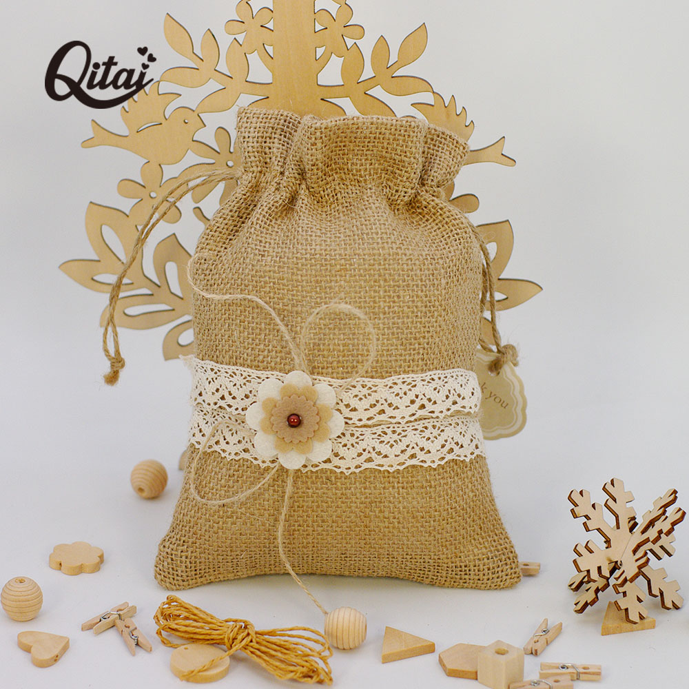 2PCS/SET Jute Bags Gift Drawstring Pouch Gift Box Packaging Bags For Gift Linen Bags Jewelry Display Wedding Sack Burlap Bag Diy