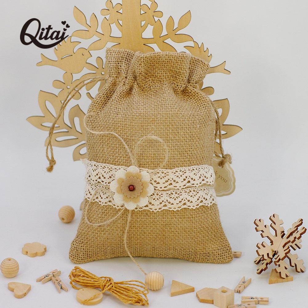 2PCS/SET Jute Bags Gift Drawstring Pouch Gift Box Packaging Bags For Gift Linen Bags Jewelry Display Wedding Sack Burlap Bag Diy