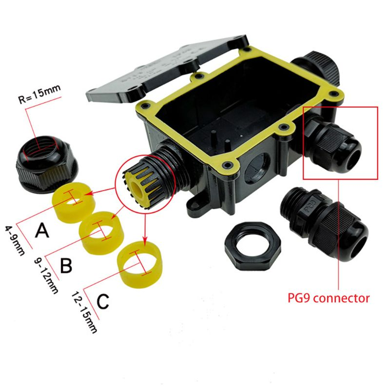 Junction Box IP68 Waterproof UV Sunproof Outdoor Multiple ways Plastic Electrical Junction Box Case Cable Wire Connector Protect