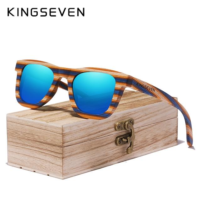 KINGSEVEN Handmade oryginalny Design okulary kolorowe drewno pełna ramka kobiety luksusowa marka okulary męskie okulary óculos de sol