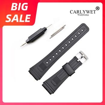 Ремешок CARLYWET силиконовый для наручных часов, резиновый сменный Т-образный ремешок для Seiko Omega IWC Casio, 20 мм, с прямым концом