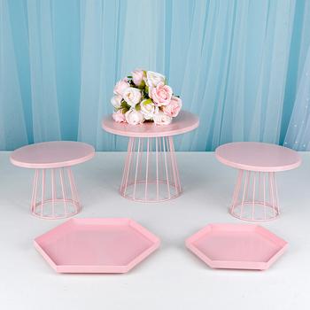 1-6 szt Metalowa patera na tort urodzinowy Macaron stojak na ciastko na ślub różowy tanie i dobre opinie RVMF stojaki CN (pochodzenie) Przybory do ciasta Ekologiczne