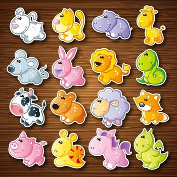 16pcs/set Cartoon Animal Fridge Magnet Souvenir for Kids Cute Dessert Stickers on the Refrigerator Magnets - discount item  34% OFF Home Decor