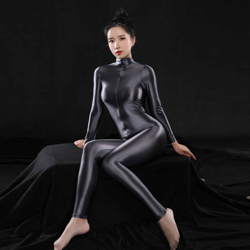 Plus Size Sexy Voll Körper Body Hohe Elasitc Clubwear Sheer Glatte Hosen Öl Gloosy Sexy Engen Gestaltung Candy Farbe F37