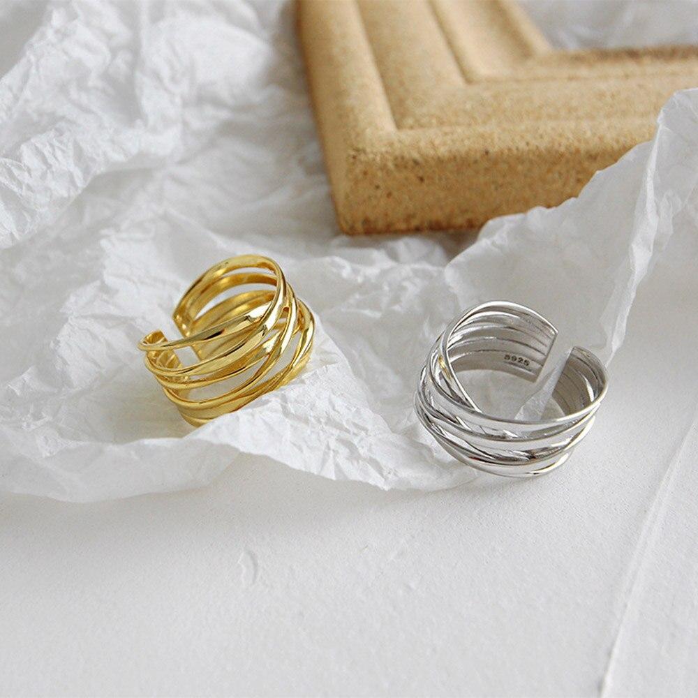 Andywen 925 en argent Sterling or ouvert croix cercle épais redimensionnable anneaux femmes mode luxe mode bijoux de mariage 4
