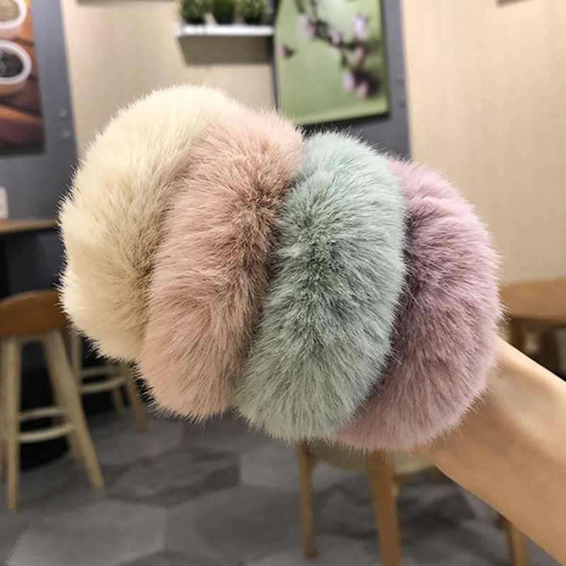 Fashion Fluffy Faux Fur Furry Scrunchie Elastic Hair Ring Rope Band Tie Round Girls Scrunchie Ring Rope