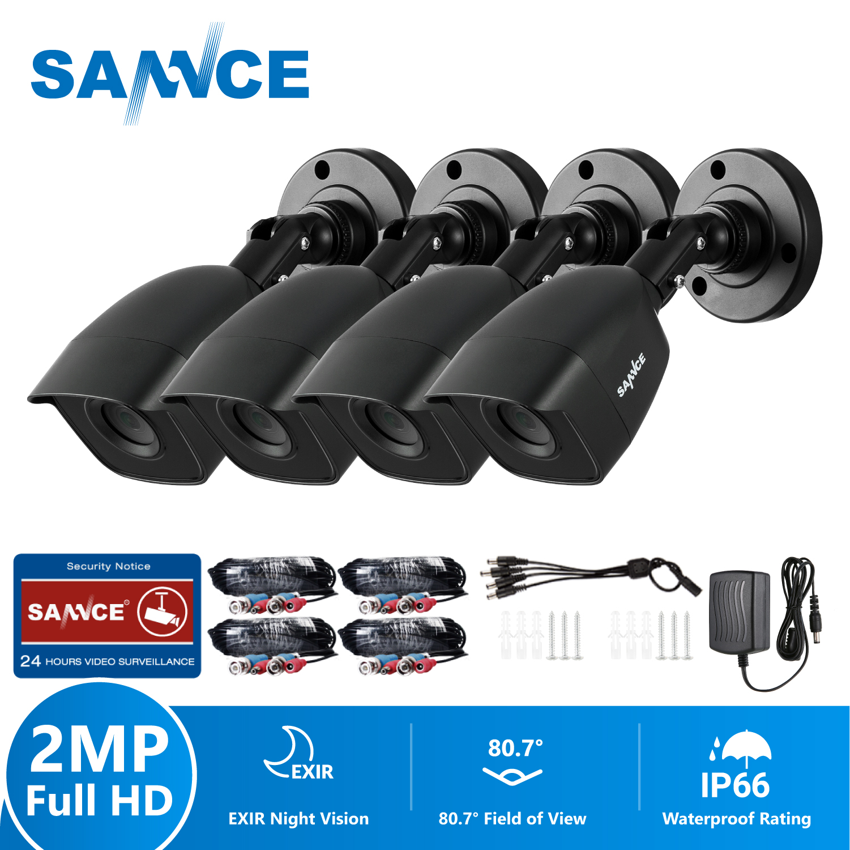 SANNCE 1080P HD 2PCS 4PCS Outdoor Bullet Weatherproof TVI Cameras Home Video Security Cameras Kit CCTV Surveillance Smart IR Kit