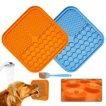 Silikonowe karmienie psa lizać Mat kot podajnik lizanie Pad dla psów koty do kąpania psa Buddy miska dla psa żywności Sucker koty lizać Pad tanie i dobre opinie HAIMAITONG do przechowywania żywności CN (pochodzenie) 500g Uniwersalny silica gel 18 5*18 5*0 75cm