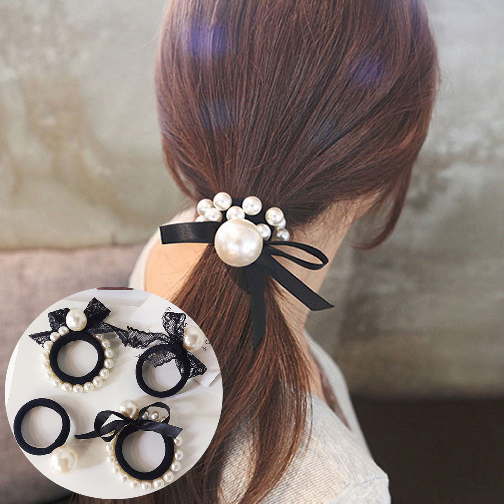 Korean Style Women Girls Lace Imitation Pearls Hair Ties Hair Ropes Rubber Band Elegant Bow Knot Ribbon Fashion Ponytail Holder