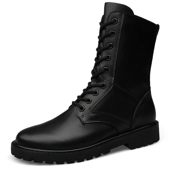 Leather Winter Shoes Men Tactical Military Boots Men Wear-resisting Army Boots Men Waterproof Outdoor Work Shoes Big Size 37-50