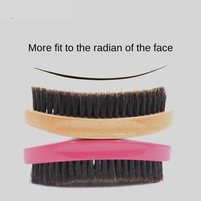 Men's Beard Brush Boar Hair Bristle Beard Brush Round Wood Shaving Comb Face Massage Handmade Mustache Brush Beauty Care G0118 1