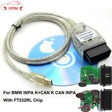 OBD2 herramienta de diagnóstico para B-M-W escáner E60 E70 E80 X1 X5 el INPA K + con interruptor FTDI FT232RL apoyo línea K