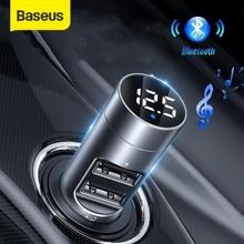 باسيوس 3.1A شاحن سيارة بلوتوث 5.0 محول FM الارسال اللاسلكي استقبال الصوت شاحن الهاتف المحمول آيفون سامسونج