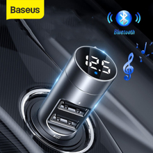Baseus 3.1A Car Charger Bluetooth 5.0 Adapter FM Transmitter Wireless Audio Receiver Mobile Phone Charger for iPhone Samsung