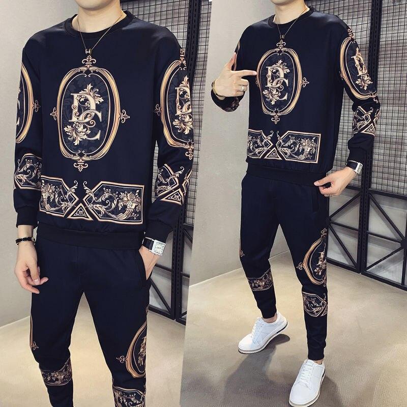 Hohe Qualität Luxus Gedruckt Pullover Herbst Rundhals Pullover Anzug 2020 Neue Mode Spiel Sport Casual Zwei Stück Set Männer