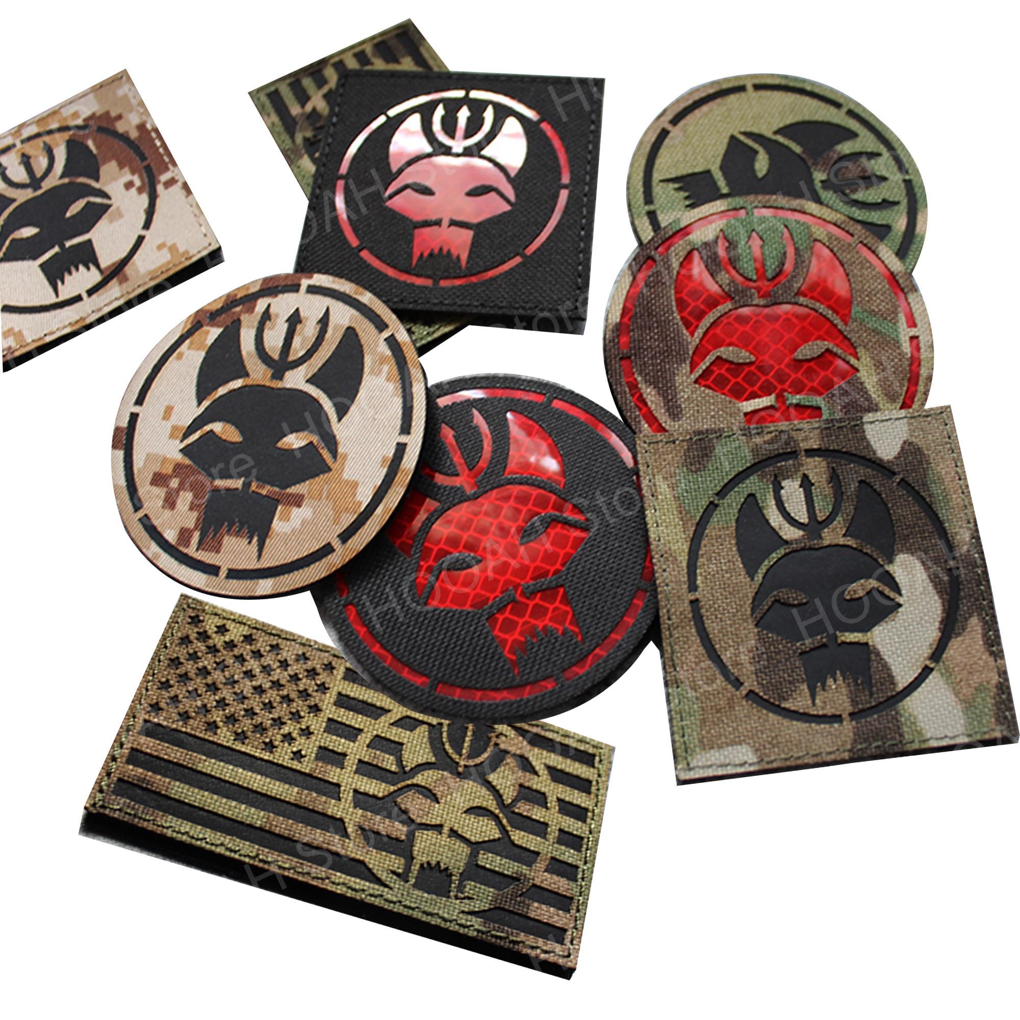 Gancho reflexivo do remendo do emblema do remendo do pc camo militar/laço dos remendo infravermelhos da marinha dos selos do ir da equipe do selo swat inverteu remendos