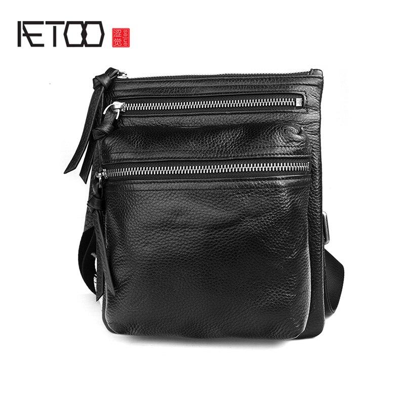 AETOO Leather shoulder bag, men's casual business messenger bag, first layer cowhide men's bag