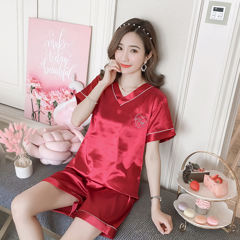 New Women Sleepwear Set 2020 Summer Pajamas V-neck Silk Print Sweet Women Set Girl Nightgown Short Pant Cute Silk Pyjamas Sets