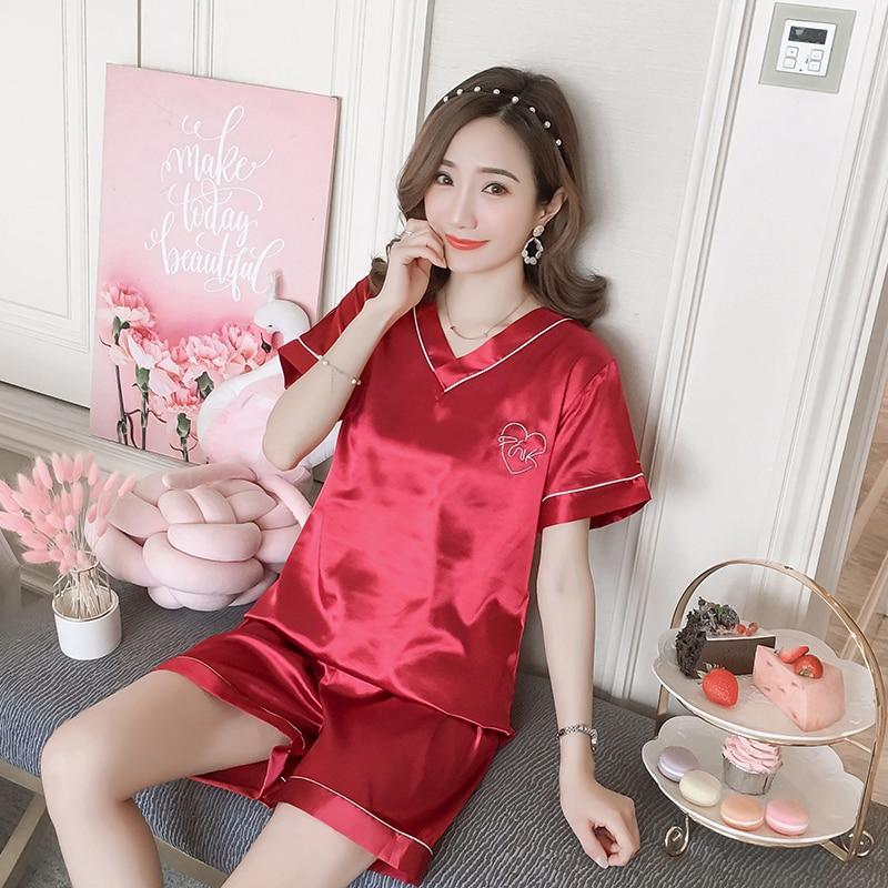 New Women Sleepwear Set 2020 Summer Pajamas V-neck Silk Print Sweet Women Set Girl Nightgown Short Pant Cute Silk Pyjamas Sets