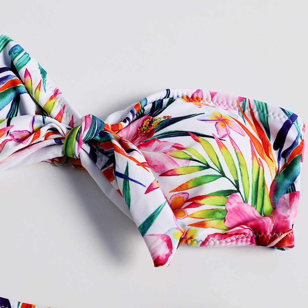 A fascia a vita Alta Sexy Costumi Da Bagno di Stampa off spalla 2 pezzo Solido Pad Beachwear Siamese Backless Costume Da Bagno нижнее белье женское