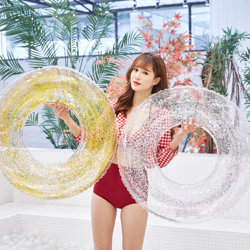 70/90 Size Sequins Swim Ring Crystal Clear Adult Inflatable Swimming Ring Inflatable Pool Float Water Party Toy