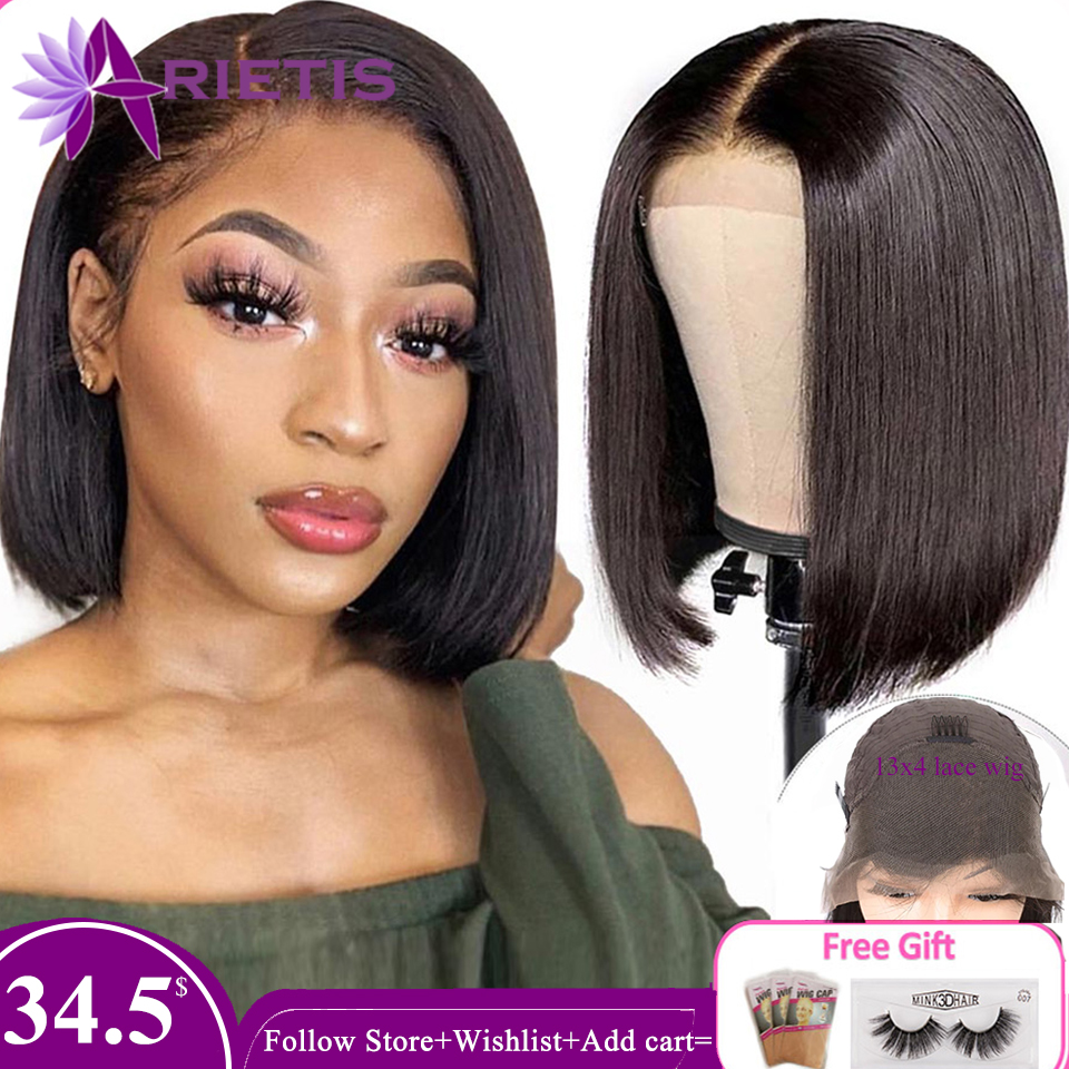13x4 Remy Bob Short Lace Front Wig Glueless For Black Women Lace Closure Human Hair Wig Straight Brazilian Hair With Baby Hair