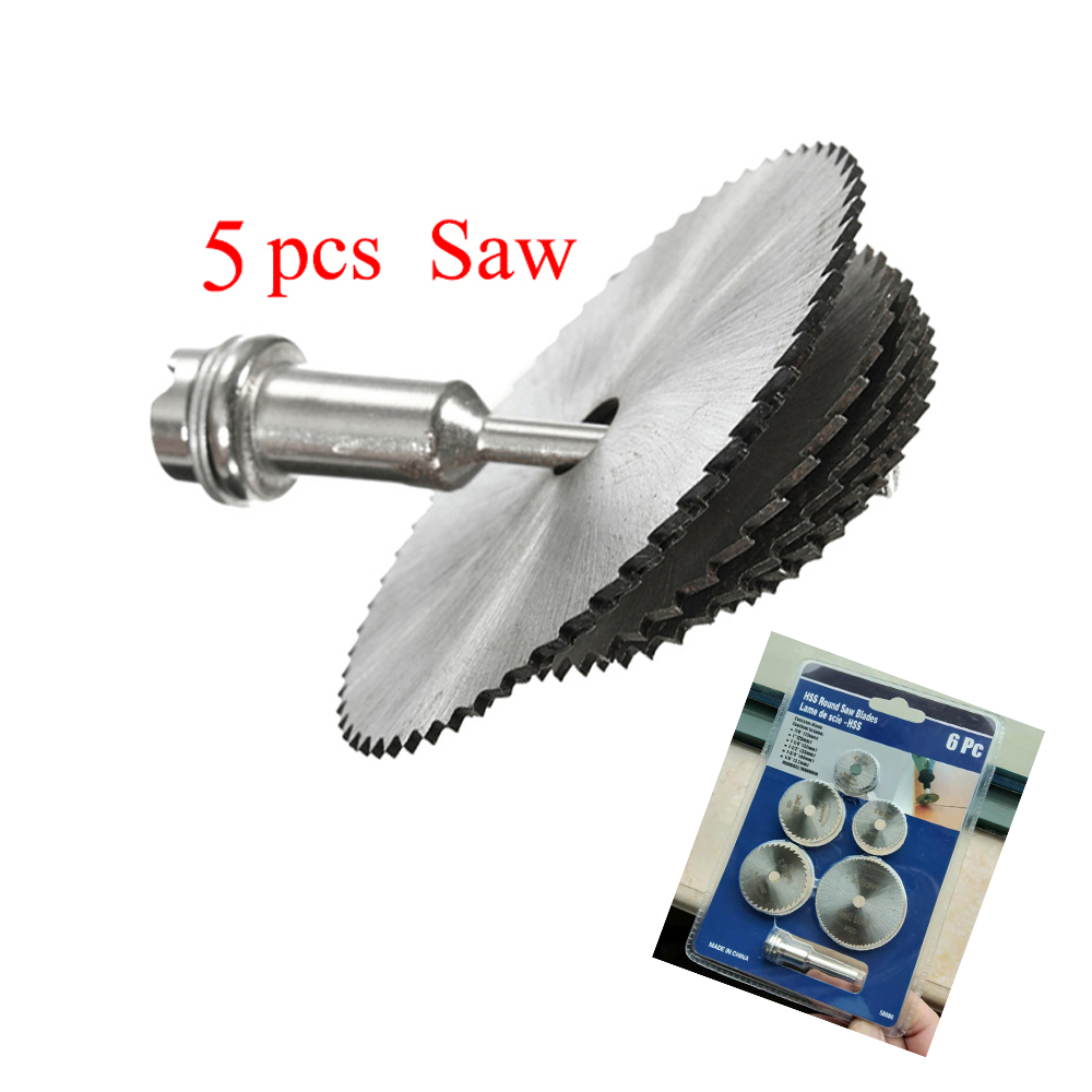 Mini Portable Saw Blade Set HSS Circular Rotary Blade Wheel Discs Mandrel For Rotary Tools Metal Cutter Power Tool Mandrel Set
