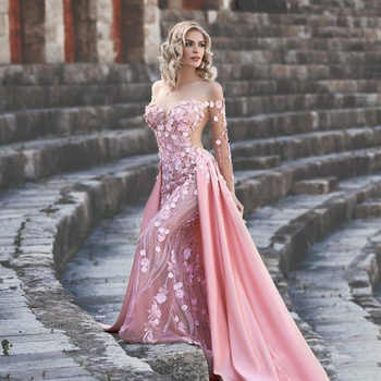 Pink Mermaid Evening Dress Overskirt Off The Shoulder 3D Applique Beaded Long Prom Dress Formal Gowns With Sleeves vestidos pink off the shoulder bat sleeves mini dress