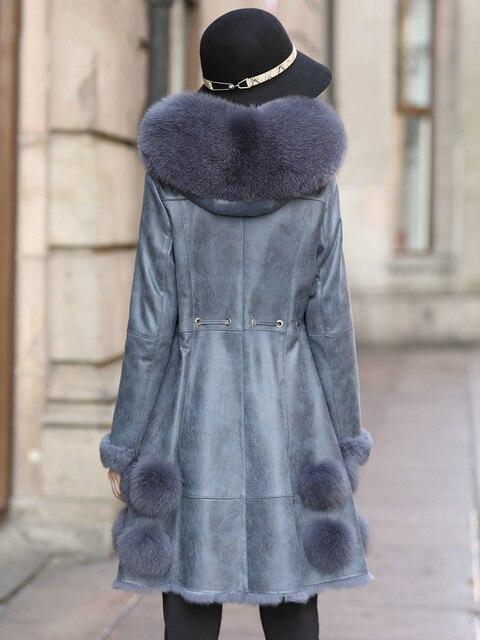 Naturel réel manteau de fourrure femme renard col de fourrure en cuir véritable lapin fourrure doublure hiver femmes vêtements 2020 Double face hauts ZT4084