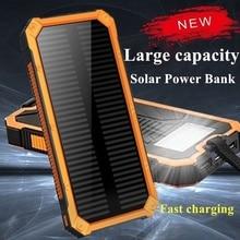 Solar Power Bank 20000mah Waterproof Powerbank External Battery Bank Portable Battery 2 Usb Portable Power for Xiaomi Iphone стоимость