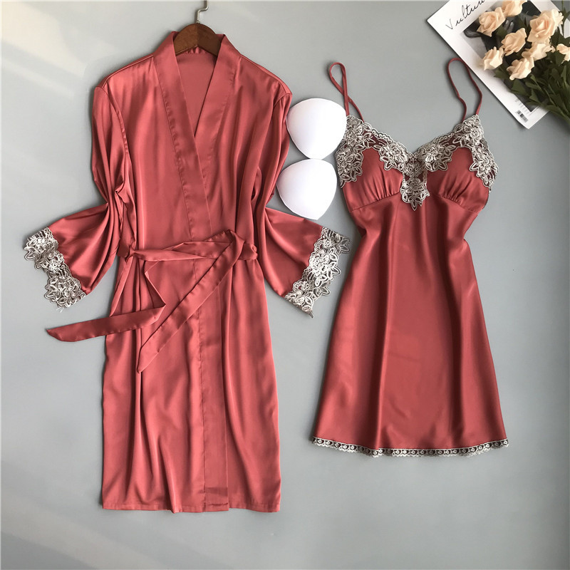 BZEL Summer Ladies Robe Sets Two-piece Women Silk Satin Sleepwear Sexy Lace Nightgown Nightwear Female Bathrobe Pyjamas Pijamas