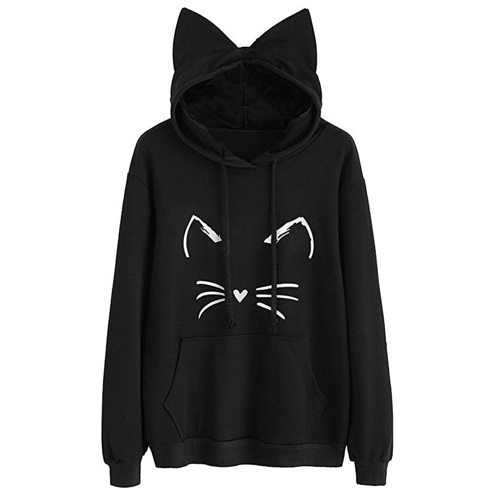 Jaycosin Womens Cat Ear Solid Long Sleeve Hoodie Sweatshirt Special Casual Cool Chic Print Cute Hooded Pullover Tops Blouse