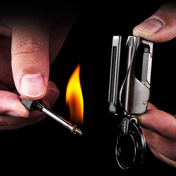 Luxury Men Car Key Chain Ignition Kerosene Match Keychain Ring Multifunction Key Holder Lighter Jewelry Fathers Day Best Gifts