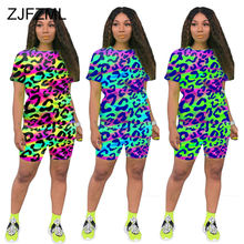 Rainbow cheetah leopard print two piece set summer outfit for