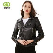 GOPLUS Womens Moto Biker Zipper Jacket Rivet Plus Size Faux Leather Jackets Turn Down Collar Black Coat Chaqueta Cuero Mujer