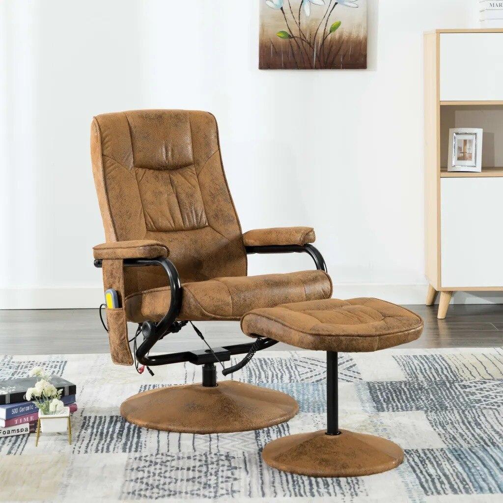 VidaXL Elektrischer Massagesessel Mit Fußhocker Braun Wildleder-Optik 249309