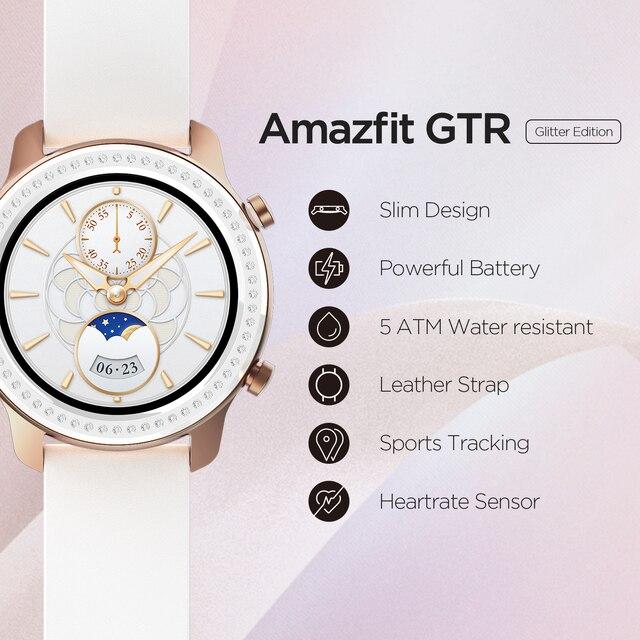 Глобальная версия Amazfit GTR 42 мм Смарт-часы 5ATM водонепроницаемые умные часы 24 дня батарея GPS управление музыкой кожаный силиконовый ремешок