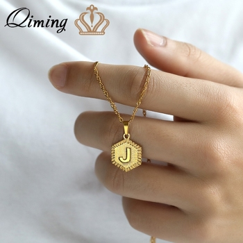 A B C D E F G H I J K L M N O P Q R S Initial Letter Necklace Women Gold Color Everyday Fashion Jewelry Necklaces Collier Femme image
