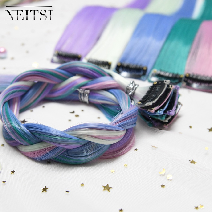Neitsi 20'' One Set Straight Invisible Clip In One Piece Synthetic Hair Extensions Rainbow Colorful Hairpieces 5 Color 10pcs/set