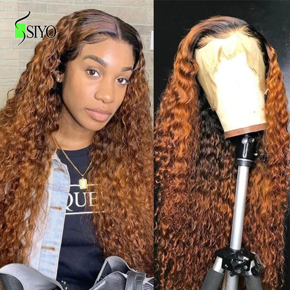 SIYO Ombre Lace Frontal Wig Brazilian Water Wave Wig 150 Density 13x4 Lace Front Remy Curly Human Hair Wigs 1b/99j Lace Wig